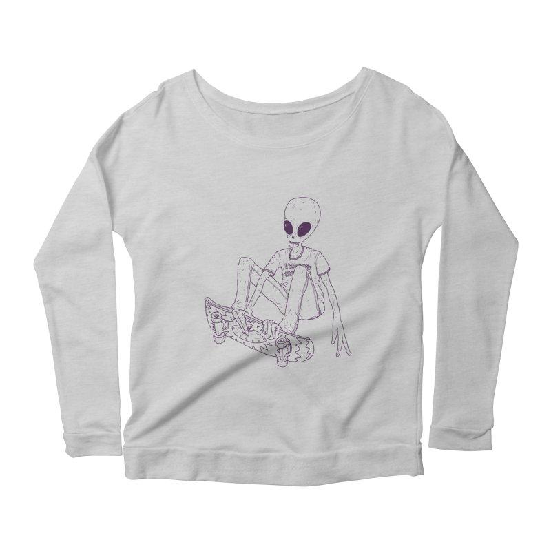 Alien Skater - Alt Women's Longsleeve Scoopneck  by Laurent's Artist Shop