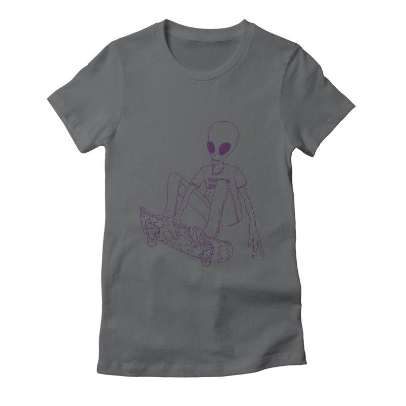 Alien Skater - Alt Women's Fitted T-Shirt by Laurent's Artist Shop