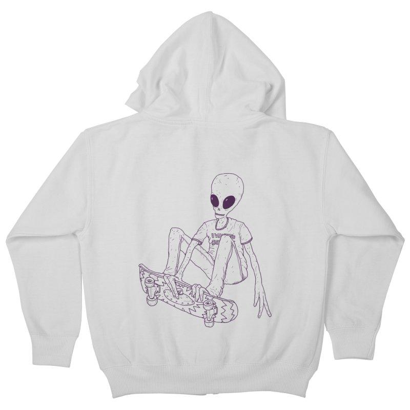 Alien Skater - Alt Kids Zip-Up Hoody by Laurent's Artist Shop