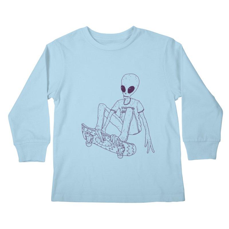 Alien Skater - Alt Kids Longsleeve T-Shirt by Laurent's Artist Shop