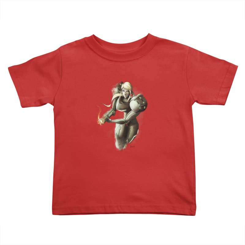 Samus - Battle Mode ON Kids Toddler T-Shirt by Laurie's Artist Shop