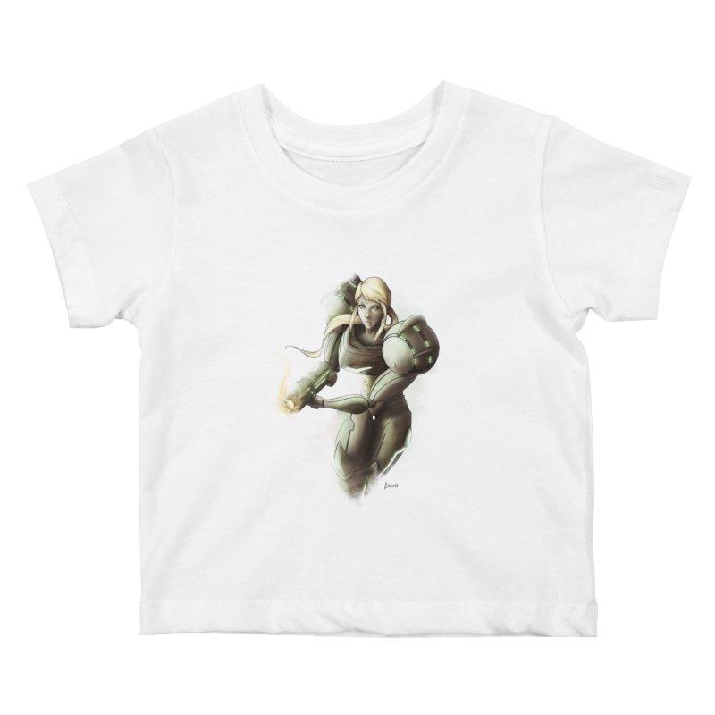 Samus - Battle Mode ON Kids Baby T-Shirt by Laurie's Artist Shop