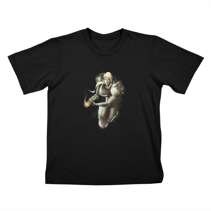 Samus - Battle Mode ON Kids T-Shirt by Laurie's Artist Shop