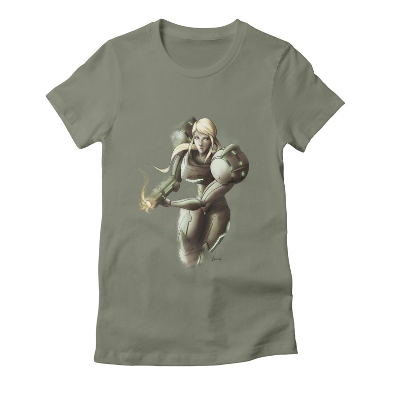 Samus - Battle Mode ON Women's Fitted T-Shirt by Laurie's Artist Shop