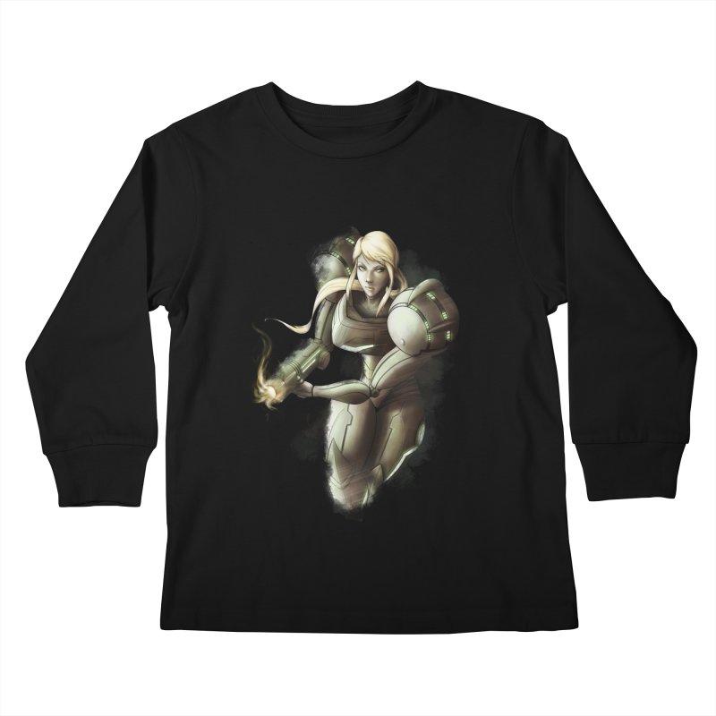 Samus - Battle Mode ON Kids Longsleeve T-Shirt by Laurie's Artist Shop