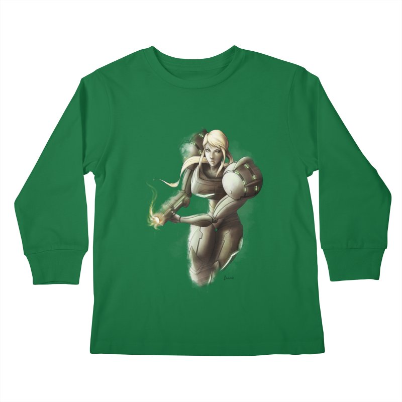 Samus - Battle Mode ON Kids Longsleeve T-Shirt by Laurie's Artist Shop