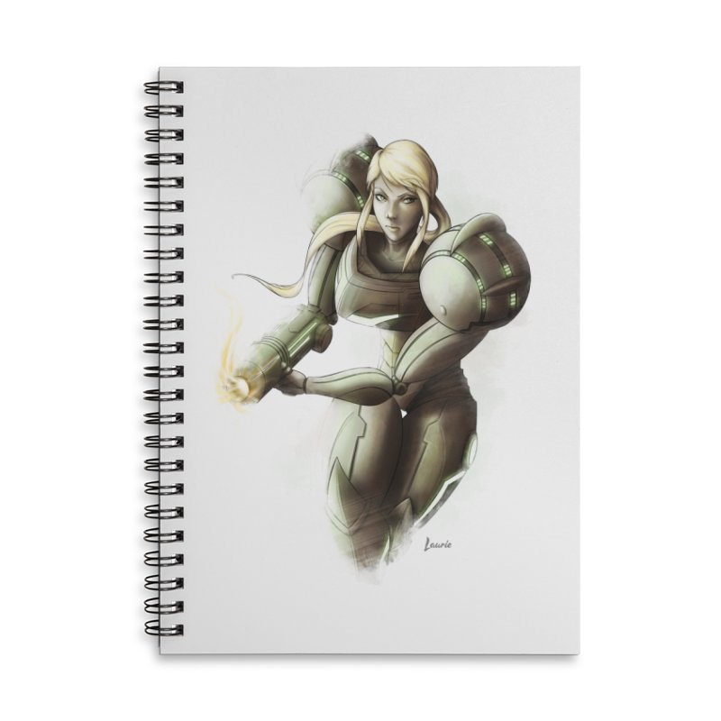 Samus - Battle Mode ON Accessories Lined Spiral Notebook by Laurie's Artist Shop