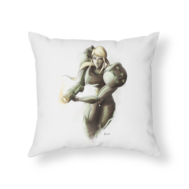 Samus - Battle Mode ON Home Throw Pillow by Laurie's Artist Shop