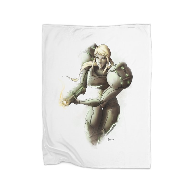 Samus - Battle Mode ON Home Fleece Blanket Blanket by Laurie's Artist Shop