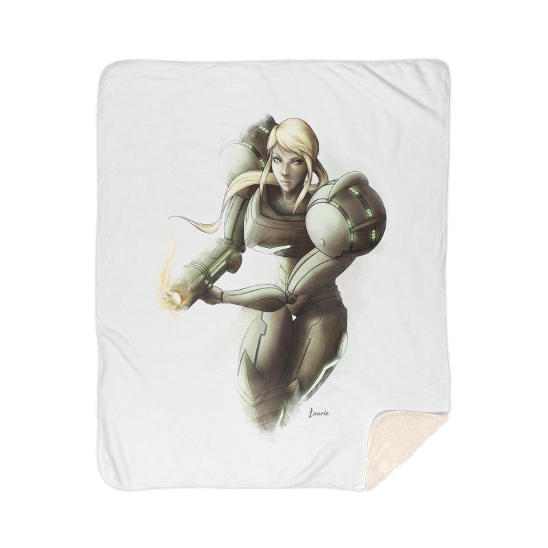 Samus - Battle Mode ON Home Blanket by Laurie's Artist Shop