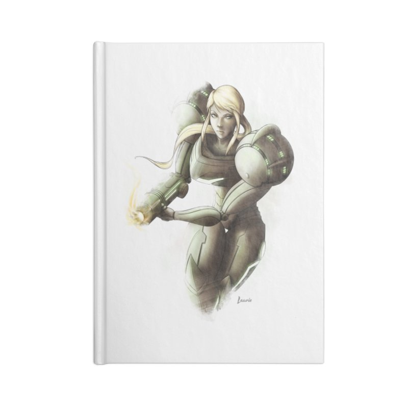 Samus - Battle Mode ON Accessories Lined Journal Notebook by Laurie's Artist Shop