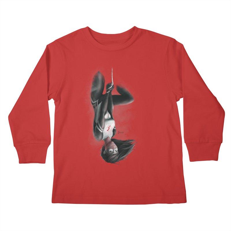 Hanging on Silk Kids Longsleeve T-Shirt by Laurie's Artist Shop