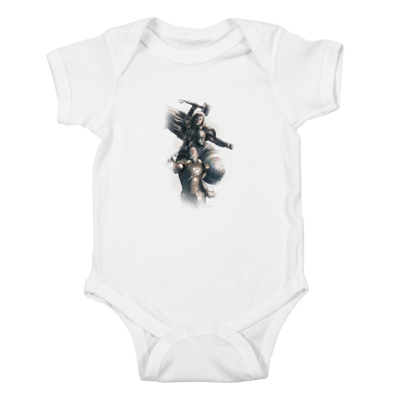 Avengers - First Assemble Kids Baby Bodysuit by Laurie's Artist Shop