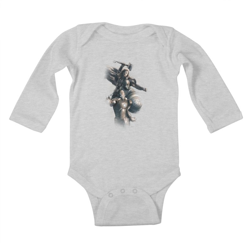 Avengers - First Assemble Kids Baby Longsleeve Bodysuit by Laurie's Artist Shop