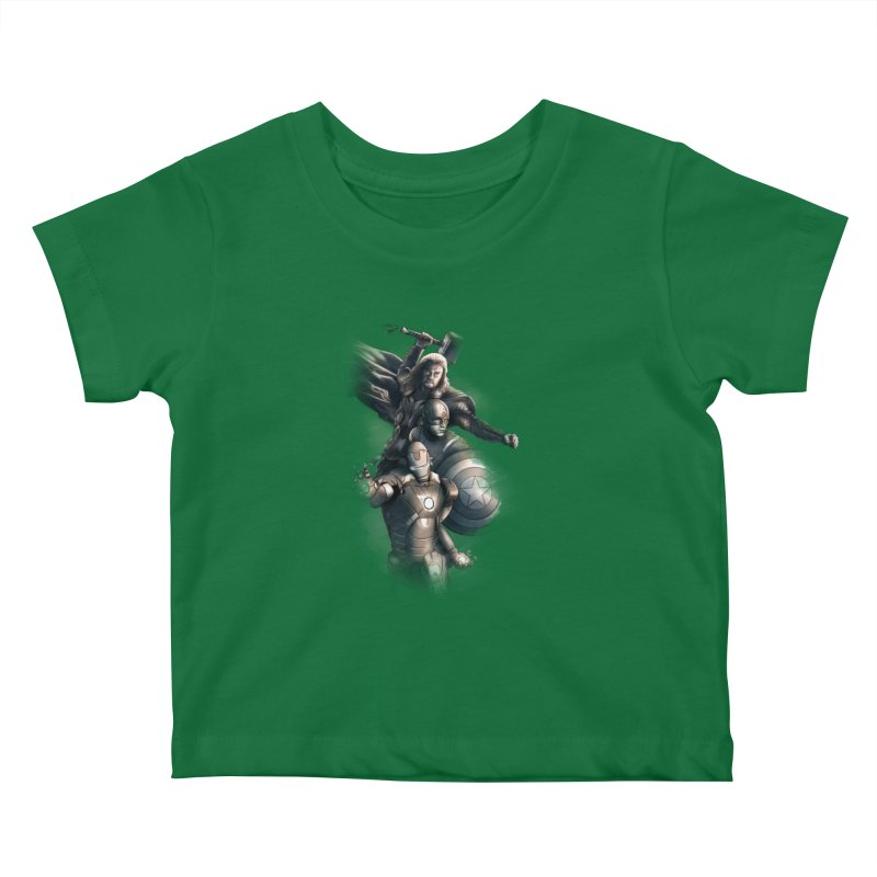 Avengers - First Assemble Kids Baby T-Shirt by Laurie's Artist Shop