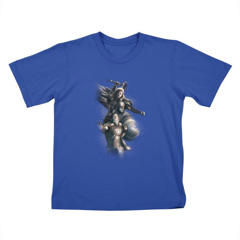 Avengers - First Assemble Kids T-Shirt by Laurie's Artist Shop
