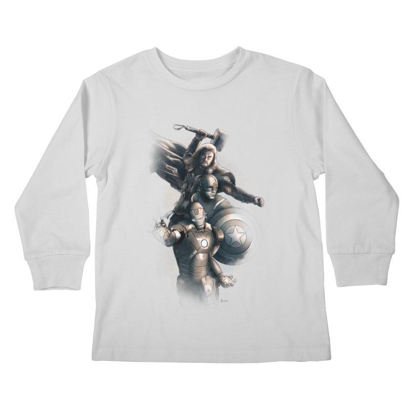 Avengers - First Assemble Kids Longsleeve T-Shirt by Laurie's Artist Shop