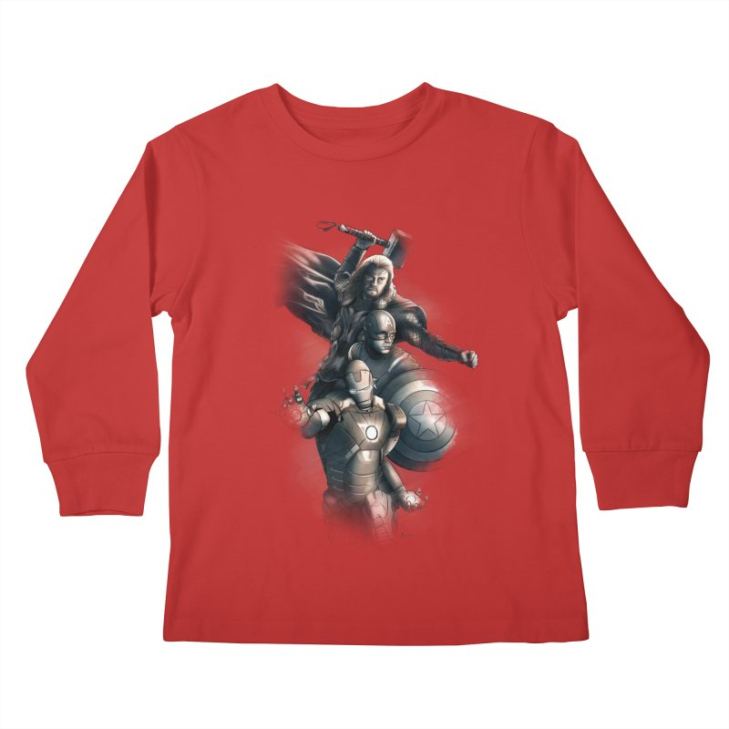 Avengers - First Assemble Kids Longsleeve T-Shirt by Laurie's Artist Shop