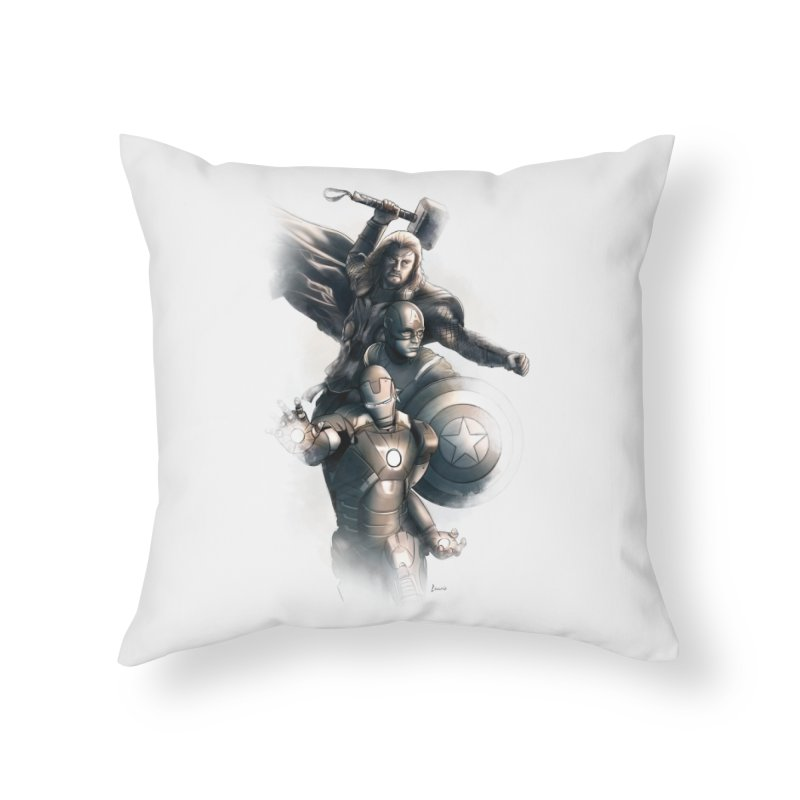 Avengers - First Assemble Home Throw Pillow by Laurie's Artist Shop