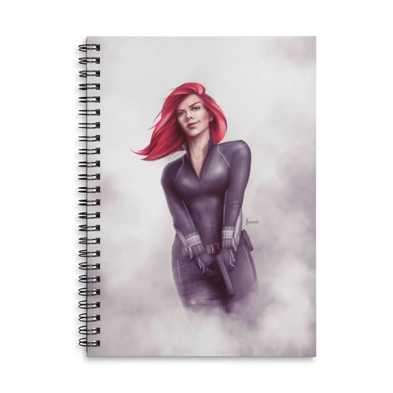 Black Widow - Let the flames begin Accessories Lined Spiral Notebook by Laurie's Artist Shop