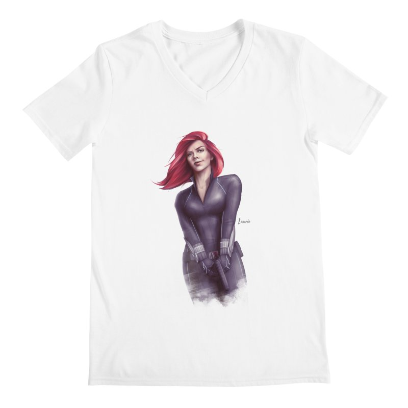 Black Widow - Let the flames begin Men's V-Neck by Laurie's Artist Shop