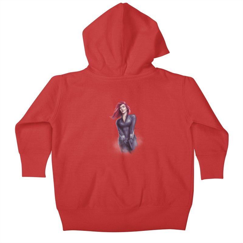Black Widow - Let the flames begin Kids Baby Zip-Up Hoody by Laurie's Artist Shop