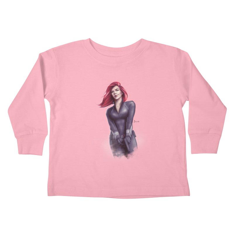 Black Widow - Let the flames begin Kids Toddler Longsleeve T-Shirt by Laurie's Artist Shop