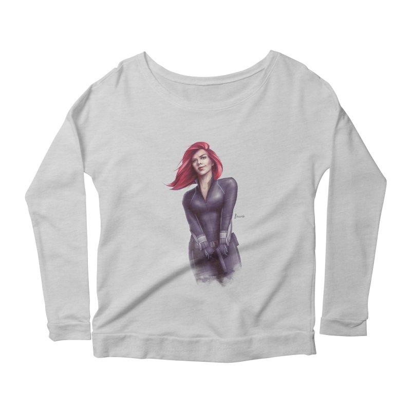 Black Widow - Let the flames begin Women's Scoop Neck Longsleeve T-Shirt by Laurie's Artist Shop