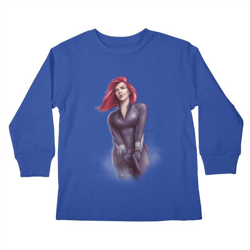 Black Widow - Let the flames begin Kids Longsleeve T-Shirt by Laurie's Artist Shop