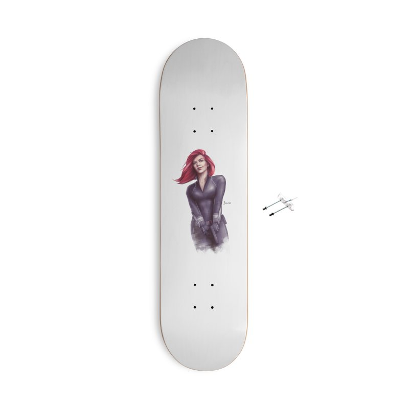 Black Widow - Let the flames begin Accessories With Hanging Hardware Skateboard by Laurie's Artist Shop