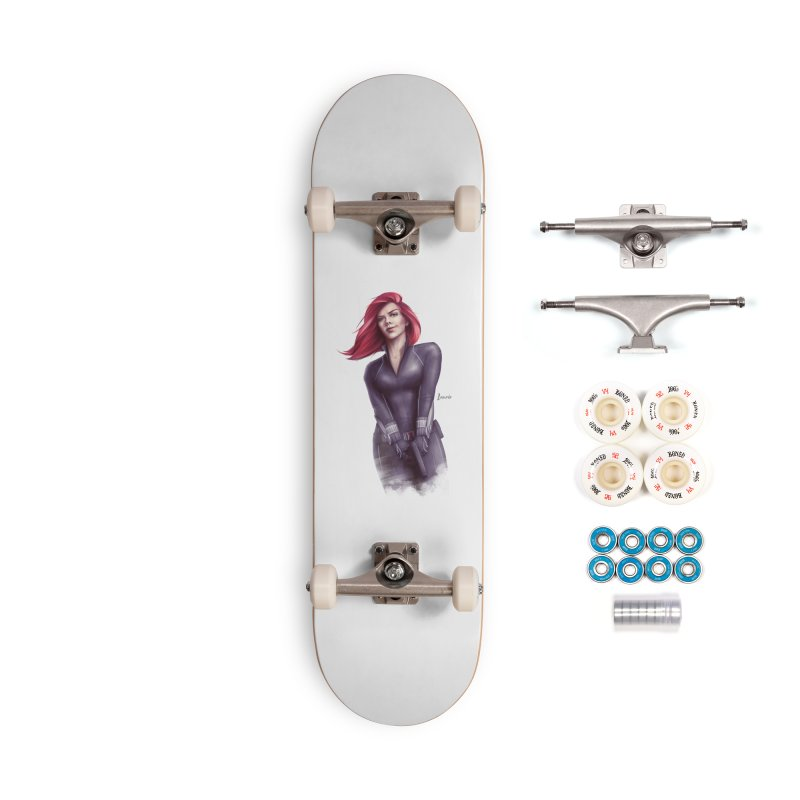 Black Widow - Let the flames begin Accessories Complete - Premium Skateboard by Laurie's Artist Shop