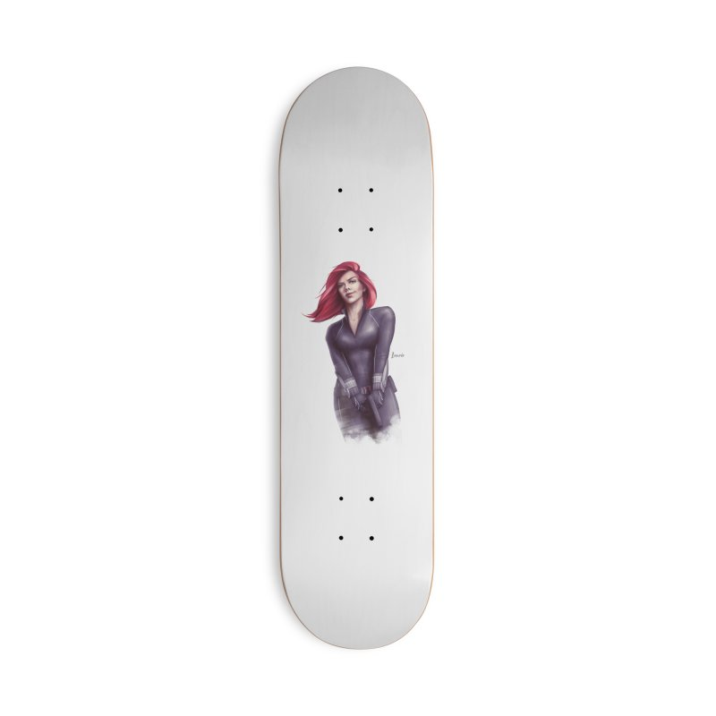 Black Widow - Let the flames begin Accessories Deck Only Skateboard by Laurie's Artist Shop