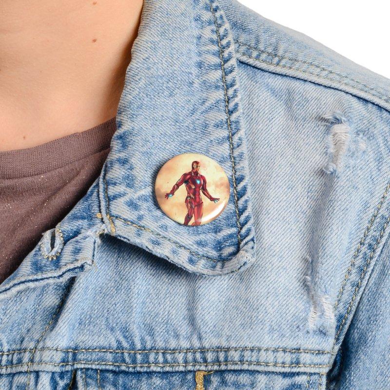 Bleeding Edge Iron Man Accessories Button by Laurie's Artist Shop