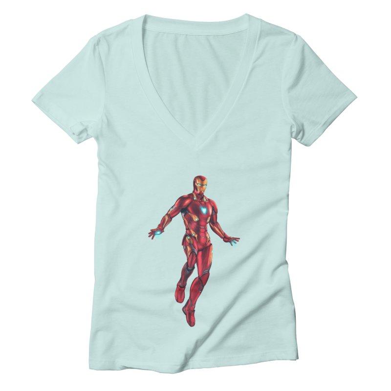 Bleeding Edge Iron Man Women's Deep V-Neck V-Neck by Laurie's Artist Shop
