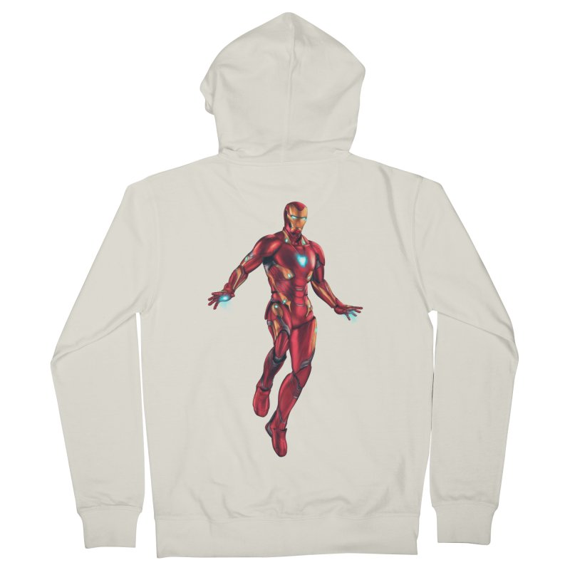 Bleeding Edge Iron Man Men's French Terry Zip-Up Hoody by Laurie's Artist Shop