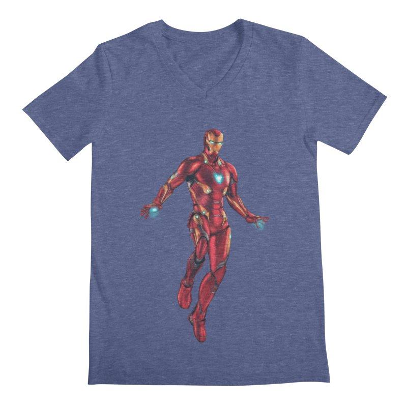 Bleeding Edge Iron Man Men's Regular V-Neck by Laurie's Artist Shop