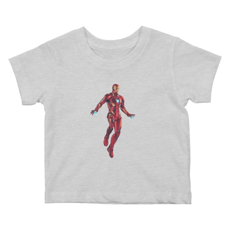 Bleeding Edge Iron Man Kids Baby T-Shirt by Laurie's Artist Shop