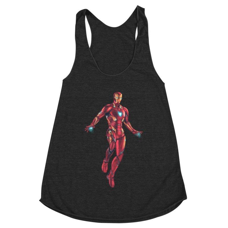 Bleeding Edge Iron Man Women's Racerback Triblend Tank by Laurie's Artist Shop