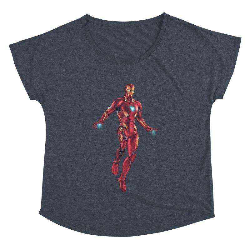 Bleeding Edge Iron Man Women's Dolman Scoop Neck by Laurie's Artist Shop
