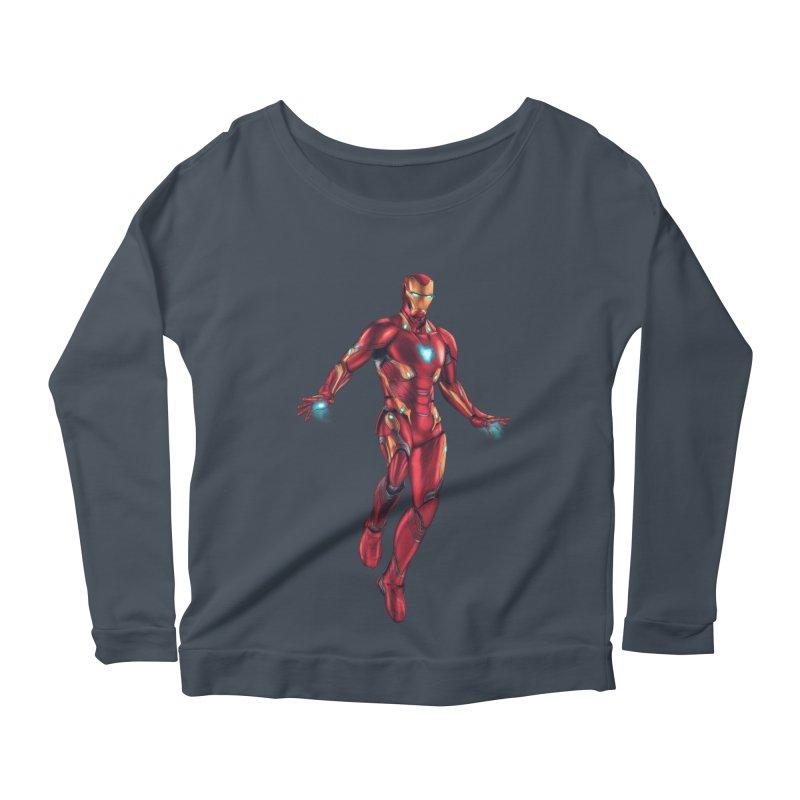 Bleeding Edge Iron Man Women's Scoop Neck Longsleeve T-Shirt by Laurie's Artist Shop