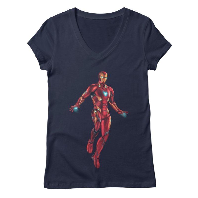 Bleeding Edge Iron Man Women's Regular V-Neck by Laurie's Artist Shop