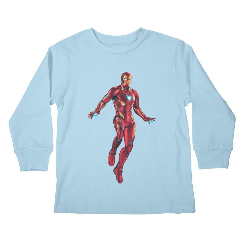 Bleeding Edge Iron Man Kids Longsleeve T-Shirt by Laurie's Artist Shop