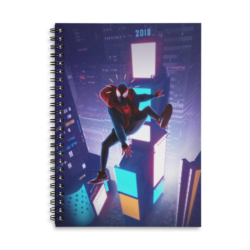 Miles into the Spider-Verse Accessories Lined Spiral Notebook by Laurie's Artist Shop