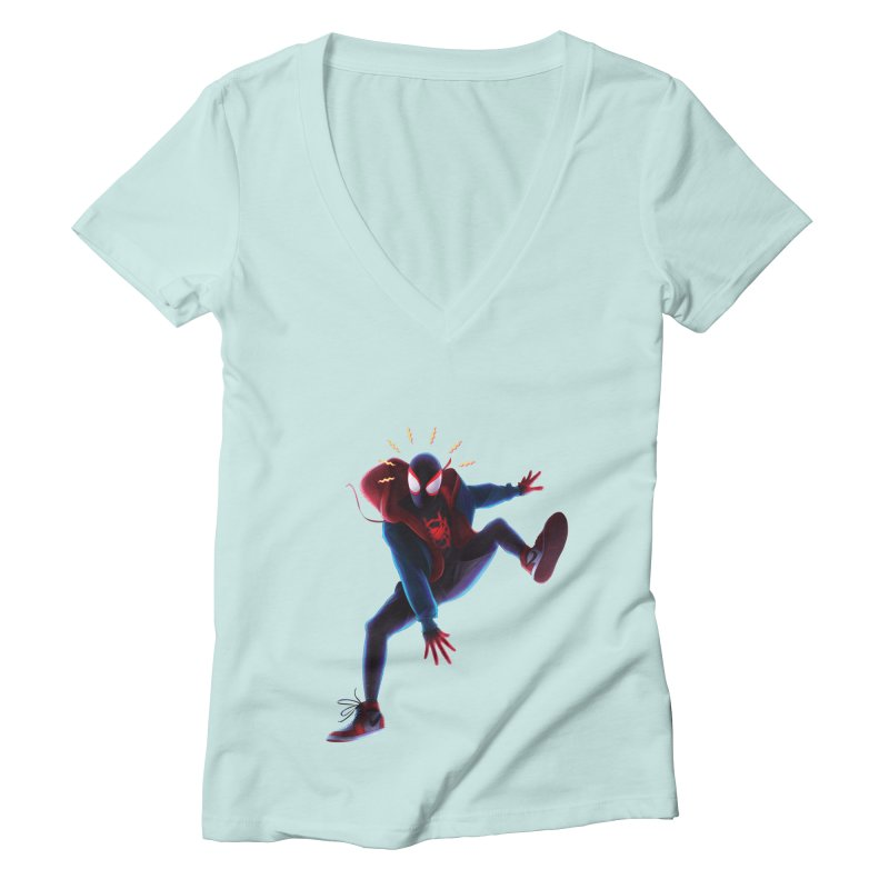 Miles into the Spider-Verse Women's Deep V-Neck V-Neck by Laurie's Artist Shop