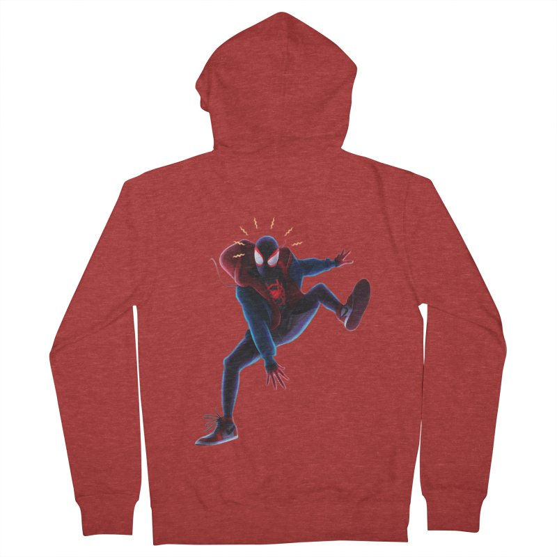 Miles into the Spider-Verse Men's French Terry Zip-Up Hoody by Laurie's Artist Shop