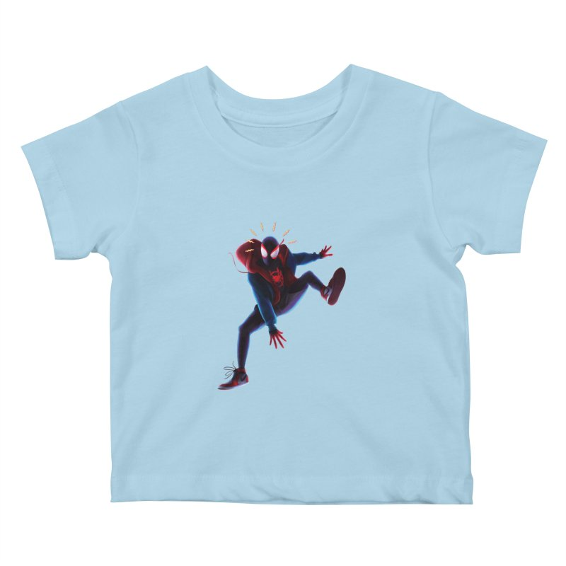 Miles into the Spider-Verse Kids Baby T-Shirt by Laurie's Artist Shop