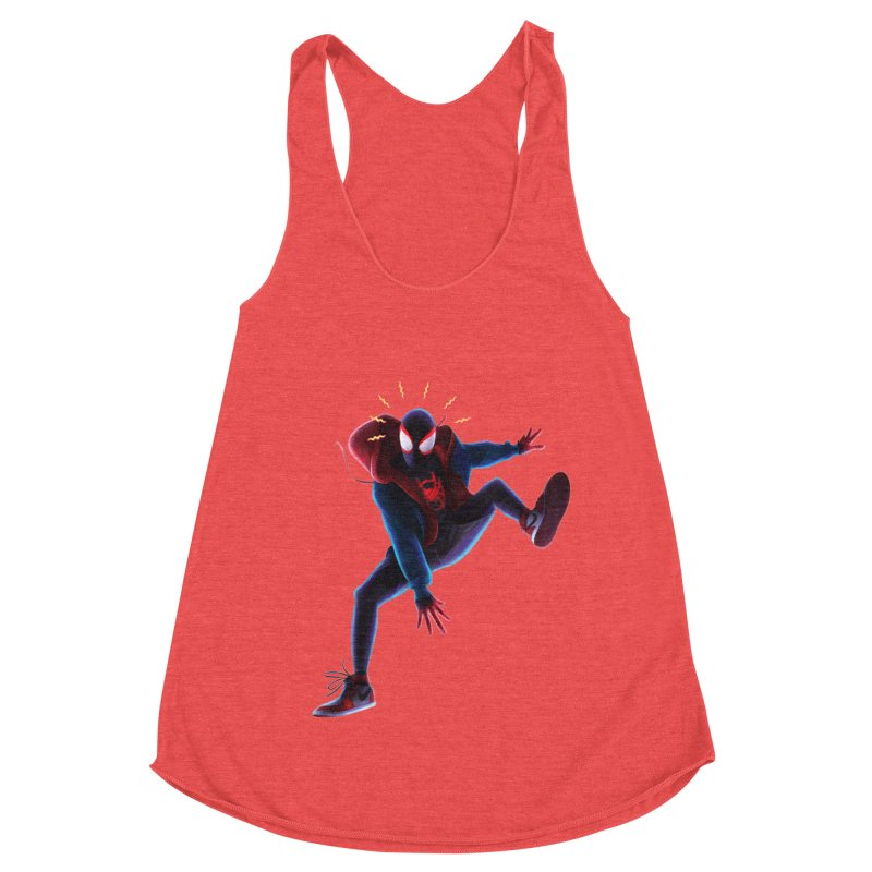 Miles into the Spider-Verse Women's Racerback Triblend Tank by Laurie's Artist Shop