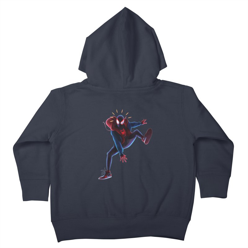 Miles into the Spider-Verse Kids Toddler Zip-Up Hoody by Laurie's Artist Shop