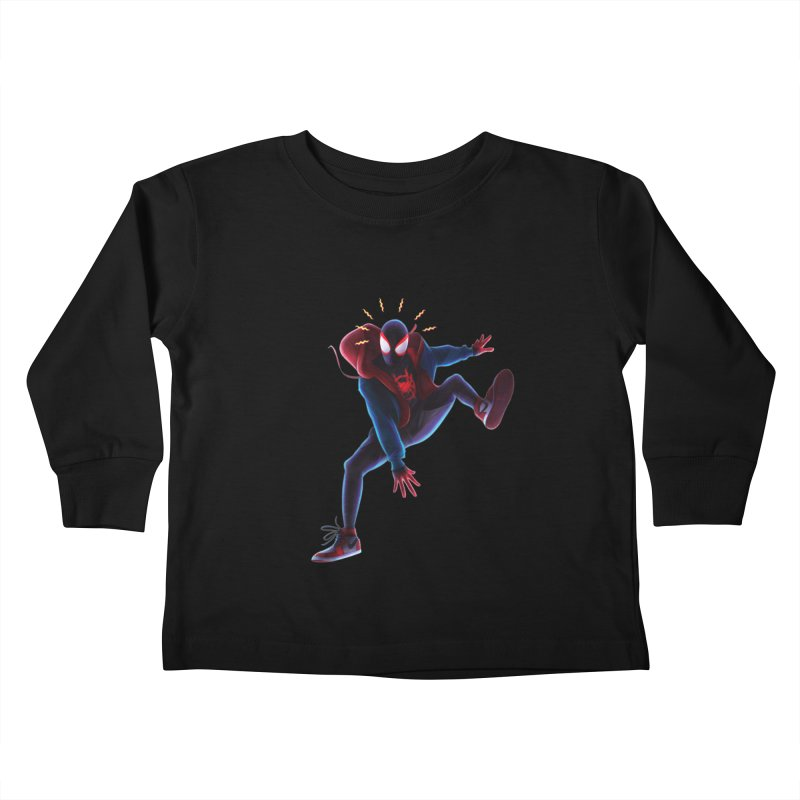 Miles into the Spider-Verse Kids Toddler Longsleeve T-Shirt by Laurie's Artist Shop