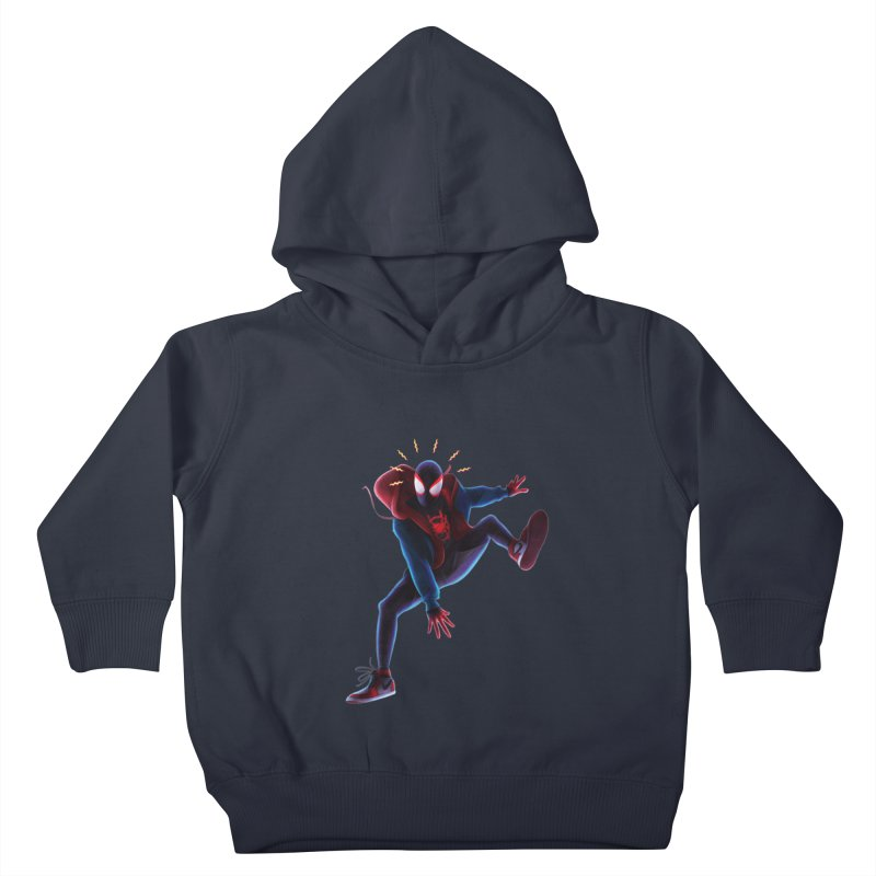 Miles into the Spider-Verse Kids Toddler Pullover Hoody by Laurie's Artist Shop